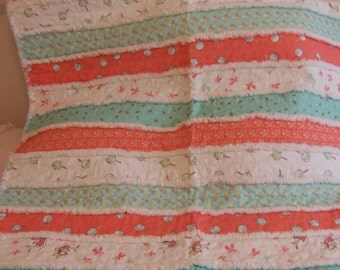 Baby Quilt, Baby Blanket, Butterfly Dance, Aqua and Coral