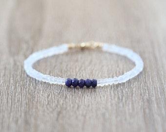 Sapphire Statement Bracelet with Rainbow Moonstone  / Sterling Silver / 14K Gold Filled / Rose Gold /Stackable Gemstone Bracelet