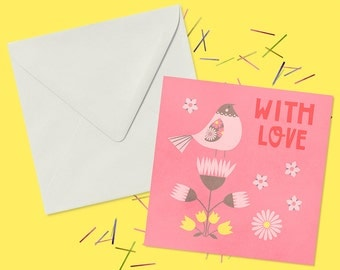 Romantic Valentines Greeting Card in Pink - Blank Inside For Your Own Personal Message - Valentine For Her - Gift For Wife
