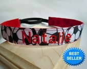Soccer Headband Adjustable NO SLIP Hair Bands PERSONALIZED you Choose Prints Many Sports and Patterns Available