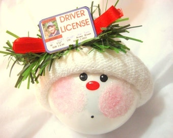 Driver License Christmas Ornaments New Driver Sample Hand Painted Handmade Personalized Themed by Townsend Custom Gifts