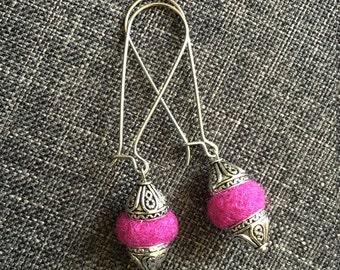 pink felt earrings