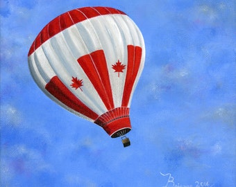 Original Painting Hilly Happy Canada - 8x8 - Folk Art - A Canada Flag hot air balloon soars in a beautiful blue sky - OOAK Acrylic on Canvas