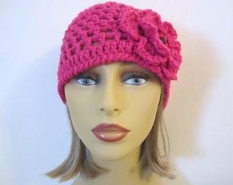 Pink Beanie Hat, Flower Hat, Crochet