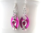 CLEARANCE Awareness Ribbon Scale Chainmaille Earrings - Choose Your Color