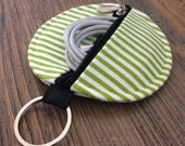 personalized POUCH for earbuds / coins / cards / small items - green stripes