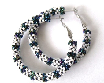Banded white and teal hoops | beaded hoop earrings | beaded earrings | beaded dark teal earrings | woven jewelry