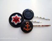 Vintage buttons hair slides - Patriotic star navy anchor red white blue decorative hair accessories TREASURY ITEM