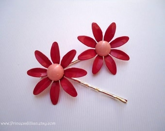 Vintage earring hair pin - Simple girly fuschia hot and baby light pink daisy flower enamel painted garden inspired embellish hair accessory