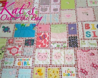 Memory Quilt with a Lady Bug theme | Baby Clothes Memory Quilt | Keepsake Quilt | First Year Clothes Quilt | Baby Clothes Quilt | Custom