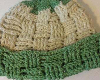 Alpaca Hat - White/Sea Foam Green