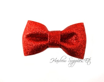 Red Glitter Bows 3 inch - Red Hair Bow, Red Bow, Red Bow Baby, Red Bowtie, Red Bow Tie, Red Bow Clip, Red Bow Hair Clip, Red Glitter Bow
