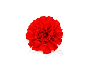 Red  Ruffle Flower Silk Mini 2 inch - Red Fabric Flowers, Red Silk Flowers, Red Hair Flowers, Red Flowers for Hair, Red Headband Flowers
