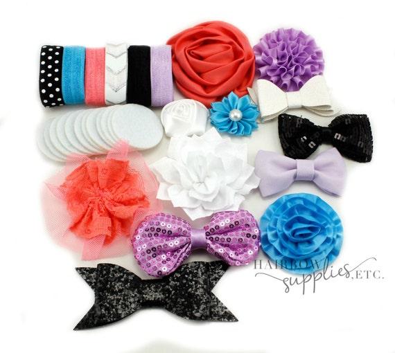 Baby Headband Kit - The Hibiscus - Baby Shower Station, Baby Headbands, DIY Headbands, Headband Making Kit, Baby Girl Headband, Headband Set