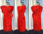 Vintage 80s Womens Abstract Red and Black Dress Oversized Slouchy Modern size XXL New Wave Golden Girls Style