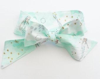 Fabric Bow Headwrap - Metallic Gold Mermaids - Infant Headband- Fabric Headband- Baby Headband- Toddler Headband Gold Metallic Under the Sea