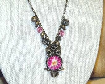 Owl Pendant Necklace with hot pink flower cab belly - boho flowers bronze nature jewelry
