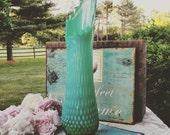 RESERVED FOR SUSAN/ Fenton Green Opalescent Hobnail Vase / Fenton Swung Vase / Fenton Stretch Vase/ Fenton Hobnail
