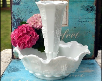 Milk Glass Epergne / Westmoreland Paneled Grape Epergne / Milk Glass Centerpiece / Milk Glass Wedding