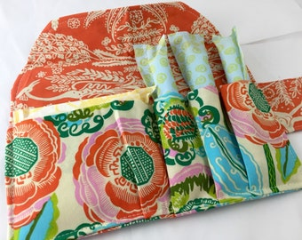 Privacy Pouch - Tampon Holder - Tampon Case - Tampon Bag - Sanitary Pad Pouch -  Pad Case - Amy Butler Bright Heart Coco Bloom in Bisque