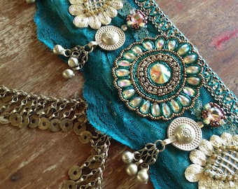 Indian Fusion Belly Dance Belt in Teal and Gold