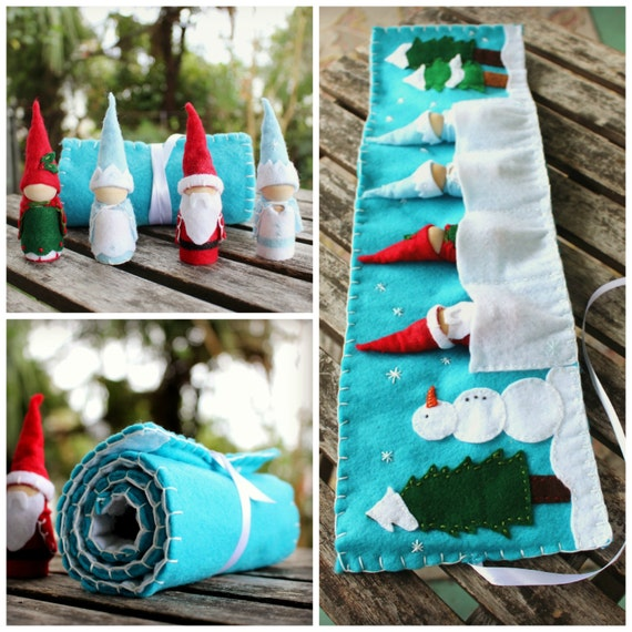Winter Felt Play Mat - Includes 4 Gnomes - Snowman & Trees  - Winter Solstice - Winter Nature Table