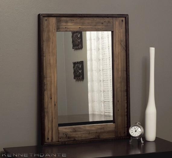 Wood Mirror Distressed Reclaimed Barnwood Mirror Bathroom Mirror 32 X 24