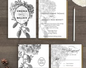 "Floral wedding invitations / Wedding guest invitations / Wedding Invitation / Wedding Invites / Wedding invitation suite - the ""Virginia"""