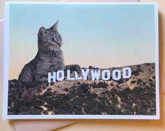 Cat Card, Cat Art, Hollywood Sign, Cat Art Print, Hollywood, Alternate Histories, Geekery, Funny Cat Art