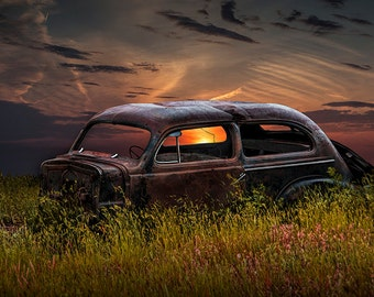 Auto Wreck Car Abandoned in the Prairie at Sunset No.12762 A Fine Art Vintage Automobile Photograph