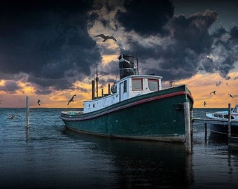 Tugboat in the Harbor with Flying Gulls at Sunset with dramatic orange sky No.19384 A Nautical Boat Seascape Photograph