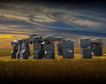 Carhenge in Alliance Nebraska at Sunset modeled after England's Stonehenge No.06302 - a Fine Art Auto Landscape Photograph