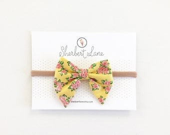 Mini Sailor Bow - Yellow Floral Cluster