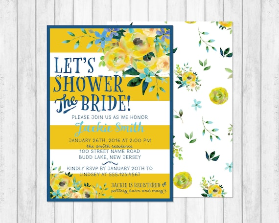 Bridal shower invitation blue and yellow floral shower for Yellow bridal shower invitations