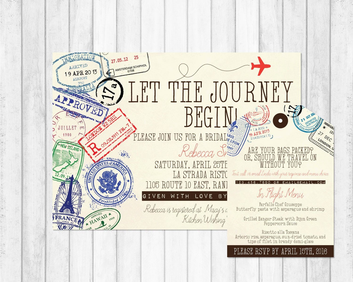 luggage tag invite  etsy, Bridal shower invitations