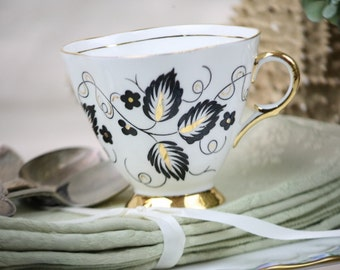 Clarence Bone China Teacup Black Leaves Gold Accents on White English Vintage Porcelain Tea Party Shower Gift Bridesmaids