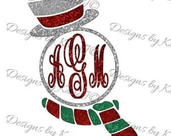 Snowman Monogram Frame SVG Christmas SVG File Snowman svg  Digital cut file SVG- Instant Download