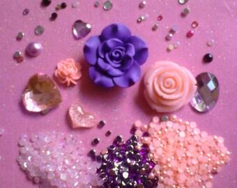 Kawaii decoden deco diy big purple rose cabochon kit mini   65---USA seller