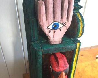Hand-made wooden Bird and Hand box
