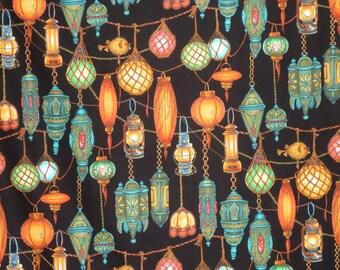 Hanging Lanterns on Black Pure Cotton Print Fabric--One Yard