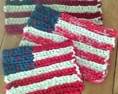 American Flag ~ Set of 3 ~  Crocheted Rag Flag ~ Red White and Blue Flag ~ Patriotic ~ Americana ~ Colonial ~ Hand Crocheted Flag