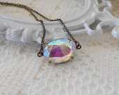 Aurora Borealis Necklace, Art Deco Necklace, Old Hollywood, Vintage Glass Necklace, Estate Jewely, Iridescent Crystal, Northern Lights