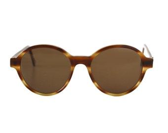 Honey Brown Vintage Sunglasses - Big Round Bowie Pop Miel - oversized