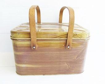 Vintage  Metal Picnic Basket Tin, Wood Swing Handles, Metal Storage Tin