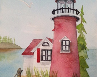 Red Watercolor Lighthouse