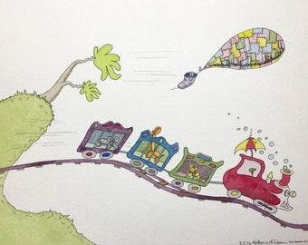 Dr. Seuss Balloon Animals on a Train print