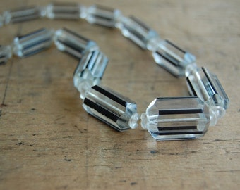 Vintage crystal necklace / 1930s jewelry / Pinstripe
