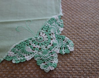 Gorgeous green hankie with crocheted butterfly in corner