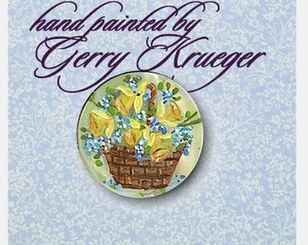 Hand painted MOP  Button - Basket of Daffodils