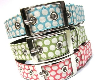 BIG SALE Dog Collar w/ Metal Buckle- Classic Dots in Pink, Blue, or Green